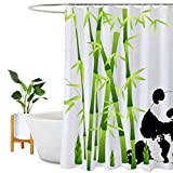 Encozy Duschvorhang, wasserdicht, schimmelresistent, Badezimmervorhang, waschbar, mit 12 Haken (Pandabär, 180 x 180 cm)