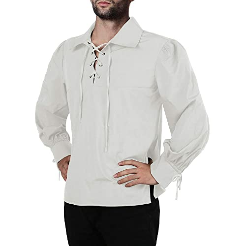 Mens Medieval Halloween Long Sleeve Viking Pirate Shirt Lace Up Neck Mercenary Tops Regular Fit
