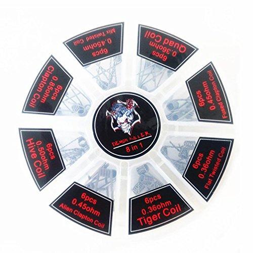 Demon Killer vorkompilierte Coil Kit 8 in 1 Quad Hive Twisted flach verschweißt Clapton-Coil tischrockhalter ein Box 0.36ohm 0.4ohm 0.45ohm 0.5ohm 0.85ohm 48 PCS