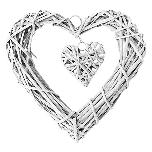 Rtengtunn wicker heart wreath Chic Wicker Hanging Hearts Gray White Artificial Wreaths Diy Heart Wicker For Wedding Birthday Party Wall Hanging Decoration