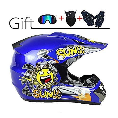 Casco Profesional de Motocross Casco Cruzado de Hombre con Gafas Máscara Guantes...