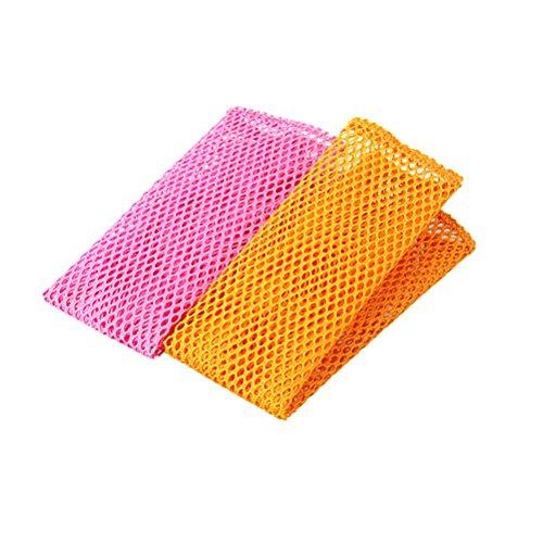 BESTONZON 8PCS Innovative Dish Washing Net Cloths Rapid Dry Scourer Inodore Mesh Washing Cloths Kitchen Cleaning Cloths (Yellow/Pink)