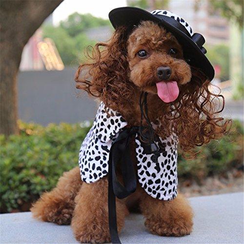 Pet Online Hund Kleidung Halloween dress up Festival schickes Kostüm Anzug perücke Schal hat Klage pet Kleidung, Kuh Muster, L