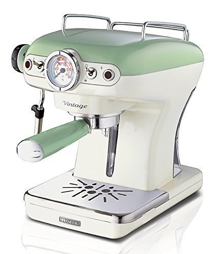 Ariete 1389/14 Retro Style Espresso Machine & Built In Milk Frother, Barista Coffee Maker Ideal for Americanos, Lattes & Cappuccinos, Filter Holder for Powder or Pods, Green