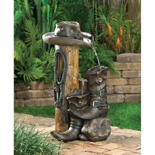 wakatobi Wild Western Rustic Cowboy Hat Boot Water Fountain Outdoor Garden Decor