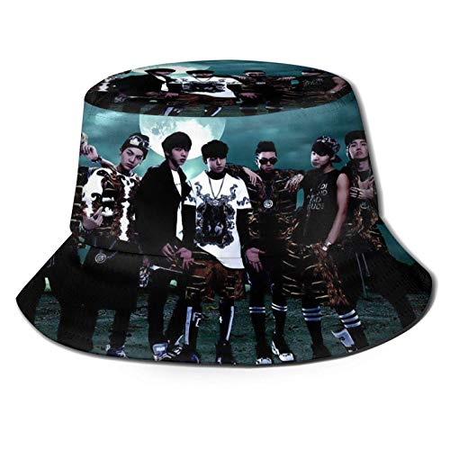 Kpop Sombrero de pescador Buet Beach Sun Hat para hombres/mujeres Protección UV impermeable transpirable ala ancha Buet Hat Paable Hats Bla