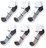 Fruit of the Loom Boys' 6-Pair Half Cushion Ankle Socks, white assort, Large (Shoe Size: 3-9)