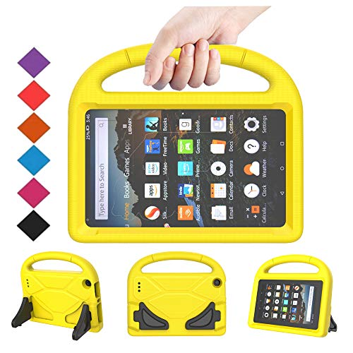 BMOUO Kids Case for All-New Fire 7 2019/2017 (9th/7th Gen - 2019/2017 Release), Light Weight Shockproof Handle Stand Kids Friendly Case for Amazon Fire 7 Tablet 2019 & 2017 Release, Yellow