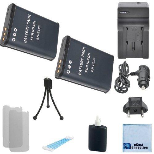 2 EN-EL23 Batteries for Nikon + Car/Home Charger for Nikon COOLPIX P610, P600, S810c Camera &More Modes + Complete Starter Kit