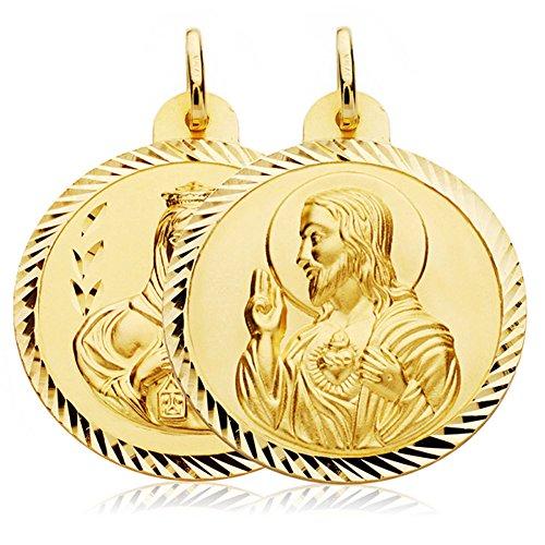 Escapulario Virgen Carmen y Corazón de Jesús Medalla Oro 18k hélice 30 mm