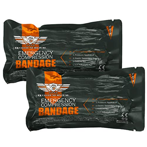 EVERLIT [2-Pack] Israeli 6 Inch Emergency Bandage Compression Trauma Pressure Dressing Vacuum-Sealed Low-Cube Packaging for Bleeding Control, Trauma Kit, First Aid