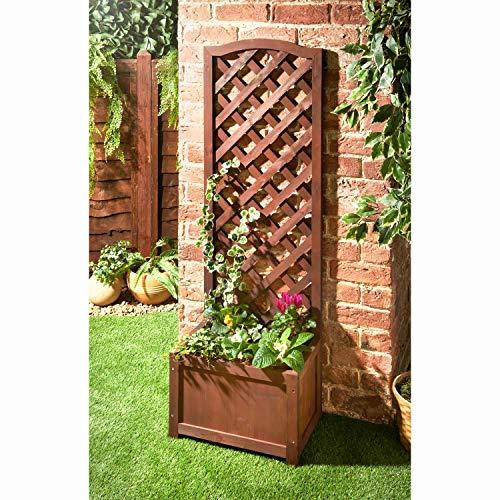 A2Z Home Solutions Perfect Lattice Planter Pot With Wooden Trellis Climbing Plants Flowers Herbs Outdoor Garden