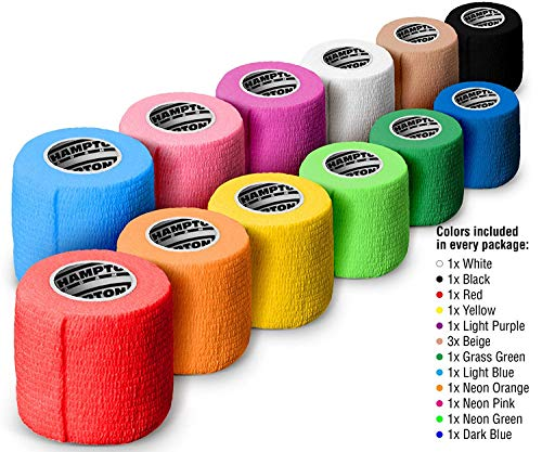 """(14-Pack) 2"""" x 15 FT   Self Adhesive Non Woven Bandage Wrap – Breathable Self Adherent Wrap for Pets - Athletic Elastic Cohesive Bandage for Sports Injury: Ankle, Knee & Wrist Sprains (Rainbow)"""