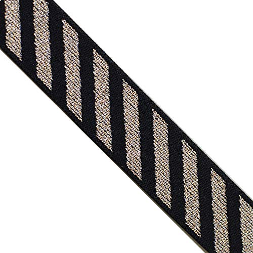 EB 4003 Jacquard Elastic Glitter Gold Black Striped Bands, 1' (25mm) 5 Yards, DIY Sewing Crafting Belts, waistbands, Home Decors