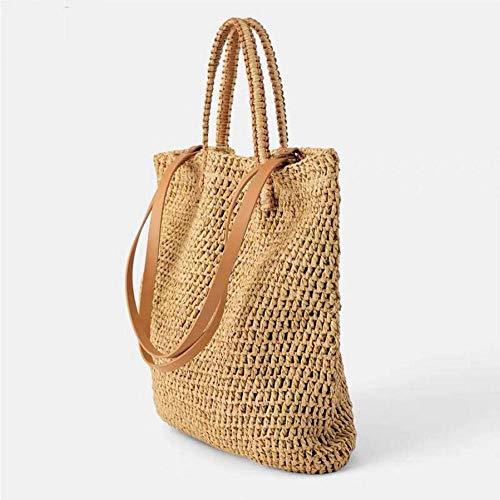 Dwqlx Weben Hohlen Papier Strohsack Umhängetasche Weibliche Strandtasche, Mädchen Mode Reisetasche Frauen-Braun