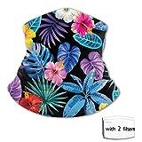 dfgi Hojas de palmera tropical Flores Versátil Multifunción Headwear Cuello pasamontañas con 2 filtros Forro de casco Cubierta facial para niños al aire libre Protección UV