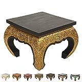 Opiumtisch Beistelltisch Nachttisch Couchtisch 50 x 50cm Thailand Tisch Holz Schwarz Gold Antik