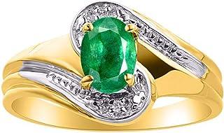 Diamond & Emerald Ring Set in 14K Yellow Gold