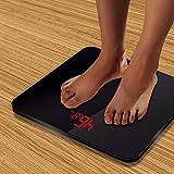 Básculas de baño de escala de pesaje, Peso digital Digital inteligente Body Balance de Salud, Pantalla LED, 180kg, Negro WDH666