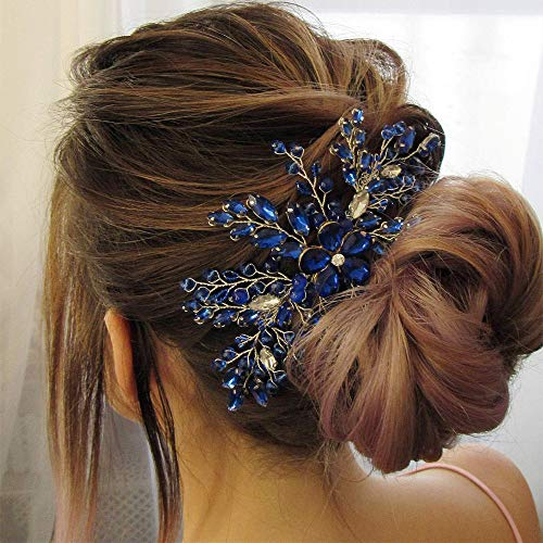 Aimimier Bridal Royal Blue Crystal Hair Comb Sapphire Hair Piece Prom Party Festival Wedding Hair Accessories for Women and Girls