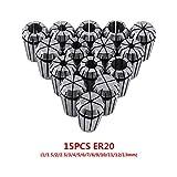Set Di 15Pz ER20 Pinze Di Serraggio Per Incisione Tornio Fresatura CNC Chuck Tool 1-13mm P...
