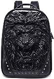 ACRUSHON 3D lion Head Backpack,Travel PU Leather Backpack for School College, Rivet Punk Large Bag for Men Women (BLACK)