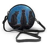 TURFED Wish Cat Star Night Print Bolso bandolera redondo Bolso de hombro para mujer Correa de cadena de cuero PU ajustable y cremallera superior Bolso pequeño Asas