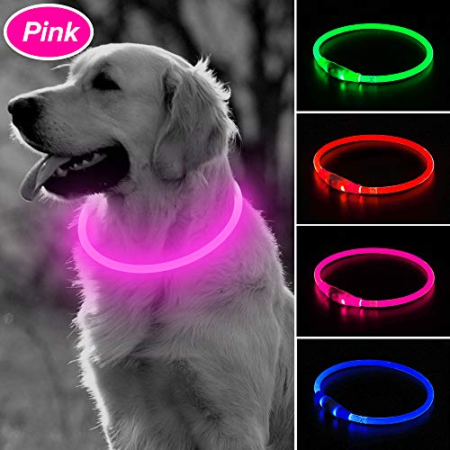 BSEEN LED Dog Collar, USB Rechargeable Glowing Pet Collar, TPU Cuttable Dog Safety Lights for Small Medium Large Dogs (Pink-II)