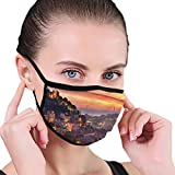 Maske Comfortable Windproof mask,Cityscape of Lisbon Portugal Traditional Seaside City Colorful Sky Sunset Evening View,Printed Facial Decorations for Women and Men