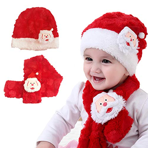Cute Christmas Santa Claus Baby Plush Beanie, Soft Warm Hat and Scarf for 0-2 Years Old Toddler Girls Boys Red