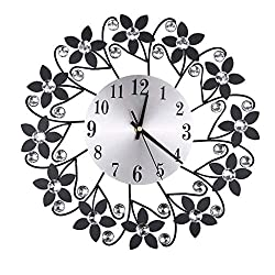 Flexmus Wall Clocks, Floral Diamond Silent Analog Modern Wall Clock Battery Operated Non Ticking Metal Clock