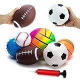 BACIVIC Lot de 6 balles souples pour enfant - Jouets pour bébé - Basketball, football, tennis, soulagement du stress - Avec pompe - Pour bébés à partir de 3 mois - Multicolore