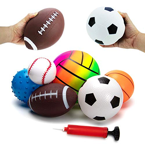 BACIVIC 6 stück Softball Kinder, Spielzeugball für Baby Mini Sportball, Basketball Fußball Tennis Stressabbau Ball für Kinder Babyball mit Pumpe | Für Babys ab 3 Monaten, Bunt