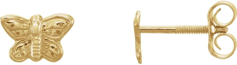 5x7mm Youth Butterfly Earrings in 14k Yellow gold