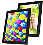 10x13 Picture Frame Black (2 Pack) - Made of Solid Wood with Glass Cover - for Display of 10 by 13 Inch Photos w/o Mat or 8x10 and 5x7 with Mats - Wall and Tabletop - Hanging or Standing