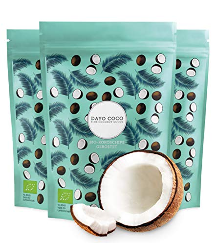 DAYO COCO Premium Bio Kokoschips, geröstet (3 x 125 gr.) | 100% Bio | Ohne Zuckerzusatz | Knusprig & Super Lecker | Vegan
