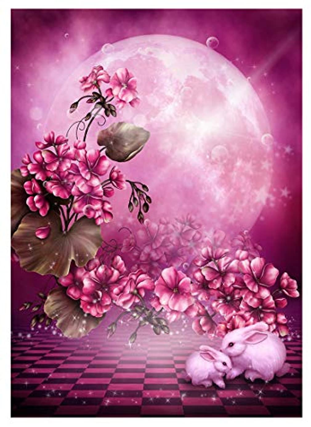 Twuky 5D Diamond Painting Kits Full Drill Diamond Embroidery-Home Decoration Process-Moon and Rabbit(12X16inch/30X40CM)