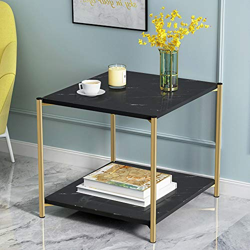 Marble Print Coffee Table Morden End Table for Small Spaces, Square Sofa Side Table Black Nightstand for Living Room, Gold Metal Frame 2 Tier