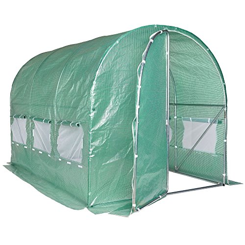 VonHaus Polytunnel Greenhouse – 3m x 2m Walk in Pollytunnel Tent – Heavy Duty Weatherproof 6m² Poly Tunnel for Garden and Outdoor – Steel Frame and Steel Frame Door – Insect Proof Roll Up Mesh Windows
