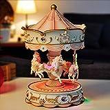 Big Carousel Music Box avec Flash LED Allumage Automatique des Feux de Levage Merry-Go-Round Décor Boîtes à Musique Boîte à Musique MJZGYY (Color : Pink no LED, Size : Libre)