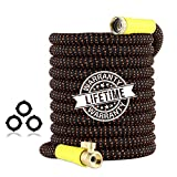 Garden Hose 50ft Expandable - Superior Strength 3750D Fabric | 4-Layers Latex | Extra-Strong Brass Connectors | Flexible Water Hose with Pocket Protectors for Gardening Yard Lawn(50 FT Hose Only)