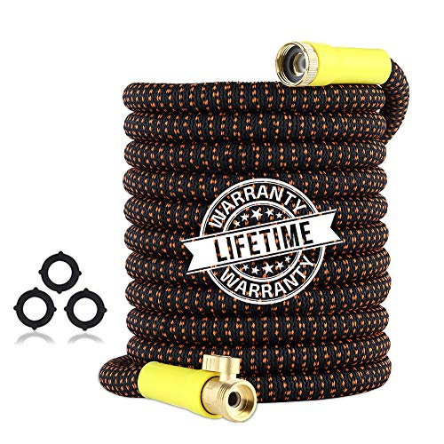 Garden Hose 50ft Expandable - Superior Strength 3750D Fabric   4-Layers Latex   Extra-Strong Brass Connectors   Flexible Water Hose with Pocket Protectors for Gardening Yard Lawn(50 FT Hose Only)