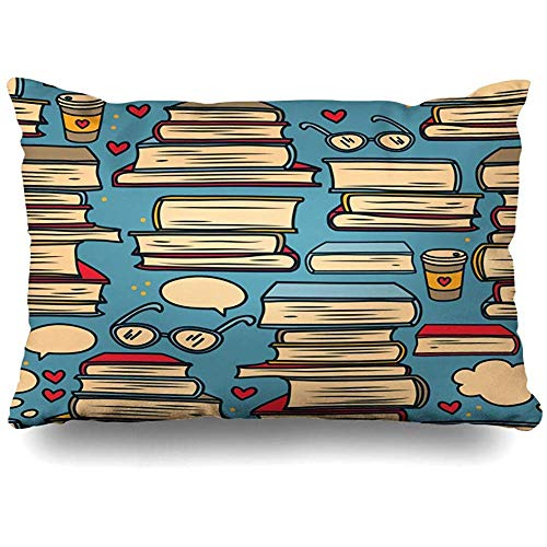 Throw Pillow Case 45x45 cm Pattern Exam Valentine Hand Think Stacks Books Hearts Colours Speech Pop Textures Objects Teen Cushion Cover