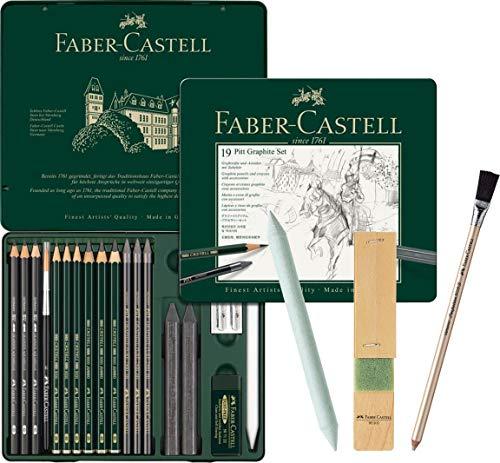 Faber-Castell - Pitt Graphite Set im Metalletui, medium, 19 + 3 -teilig (inklusive Radierstift mit Pinsel, Papierwischer und Minenschärfblock)