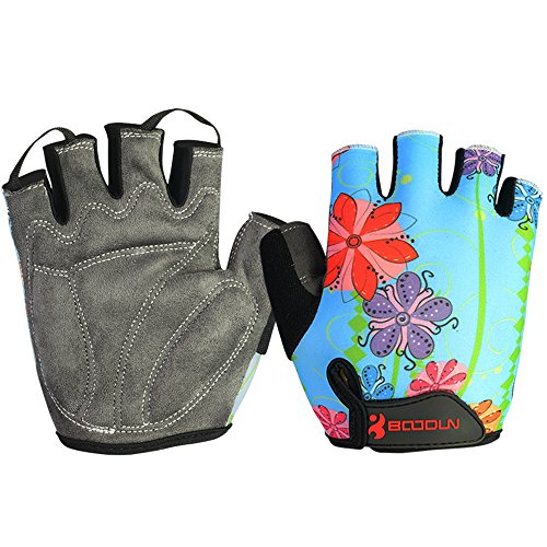 Anser 2130042 Riding Gloves Cycling Gloves Breathable Bicycle Gloves Bike Gloves Sport Gloves for Children or Women (Blue Flower, S)