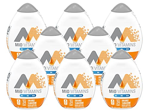 MiO Vitamins Liquid Water Enhancer, Orange Tangerine Flavor with B3, B6 & B12 Vitamins, Naturally Flavored & No Calories, 1.62 FL OZ Bottle (Pack of 8 Bottles)