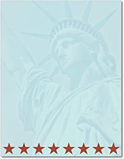 Statue of Liberty Patriotic American Stationery Paper - 80 Sheets - Letterhead Great for Memorial Day, Independence Day, V...