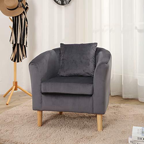 Canterbury Velvet Fabric Tub Chair Armchair Living Room Office Reception Dark Grey