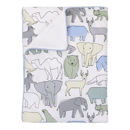 Dwell Studio Caravan Animal Print Double Sided Cotton/Velour Blanket, Aqua/Gray/Green/Yellow