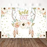 Mocsicka Dreamcatcher First Birthday Backdrop Blush Pink Gold Boho Girl 1st Birthday Party Photography Background She's a Wild One Birthday Party Cake Table Decoration Banner Photo Booth Props (7x5ft)